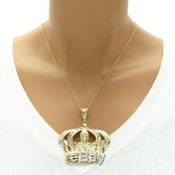 10K Gold Nugget Design Large Royal Crown Pendant