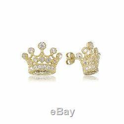 10K Solid Yellow Gold Cubic Zirconia Crown Stud Earrings Royal Women Men