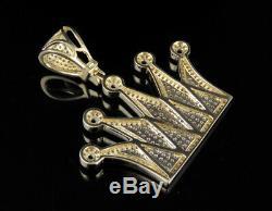 10K Yellow Gold King Royal Crown Real Diamond Pendant 1.2/3 Ct 1.5