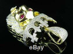 10K Yellow Gold Lion King Royal Cross Crown Diamond 2 Inch Pendant Charm 2.0Ct