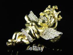 10K Yellow Gold Royal Crown Cross Angel Genuine Diamond 1 Pendant Charm 0.33ct