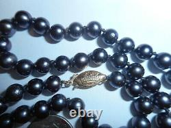 14K Gold Crown Clasp 6mm Peacock Black Akoya Salt water NECKLACE Choker knotted