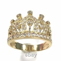 14K Yellow Gold Beautiful Royal 1 Carat Diamond Crown Ring R30