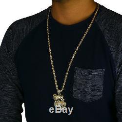 14k Gold Plated Royal Lion Crown Cz Hip Hop Pendant 4mm 30 Rope Chain