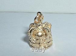 14k YELLOW GOLD 3D ROYAL CROWN PENDANT CHARM