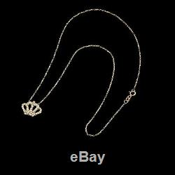 1CT Created Diamond Royal Crown Pendant 16 Cable Chain 14K Yellow Gold Necklace