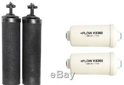 2 Black Berkey & 2 PF-2 Fluoride Water Filters Big Royal Imperial Crown Travel