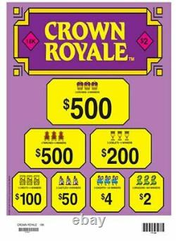 $2 Game Crown Royal 3 Window Pull Tab Payout $3590 Free Ship USA (48)