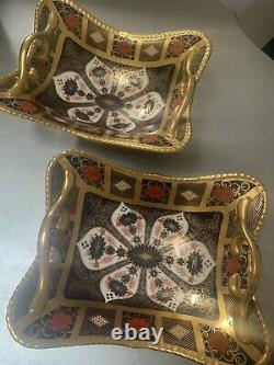 2 X Royal Crown Derby 2nd Quality Old Imari Gold Band