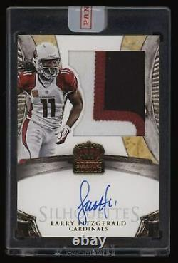 2014 Larry Fitzgerald Panini Crown Royale Silhouettes 3 Color Patch Auto #07/10