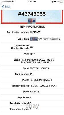 2017 Crown Royale Patrick Mahomes RC PLATINUM Silhouettes /50 Rookie Patch PSA 8