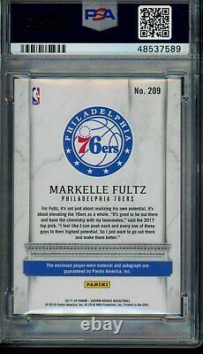 2017 Panini Crown Royale 209 Markelle Fultz Silhouettes Jersey/Patch Auto PSA 10