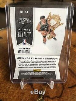 2019-20 Crown Royale Quinndary Weatherspoon Spurs Rookie Royalty Die Cut #1/1