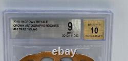 2019-20 Crown Royale Trae Young Crown Auto #135/149 BGS 9 MINT Autograph 10