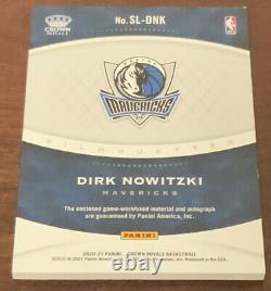 #4/12 Dirk Nowitzki 2020-21 Crown Royale Silhouettes Jumbo Patch Auto Mavericks