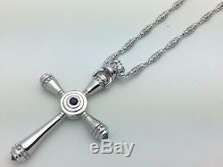 925 Sterling Silver Natural Blue Sapphire Royal Crown Cross Pendant Necklace 24