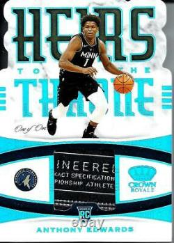 Anthony Edwards 2020-21 Panini Crown Royale Super Prime Jersey Tag Patch Rc 1/1