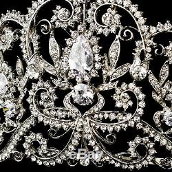 Antique Silver Royal Princess CZ Crystal Bridal Wedding Tiara Crown