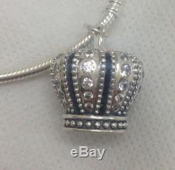 Authentic PANDORA 390346CZ Royal Crown clear cz Pendant Retail $120 (Retired)