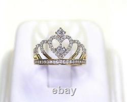 BRAND NEW 14k Yellow Gold CZ Grand Royal Heart Princess Tiara Crown Ring
