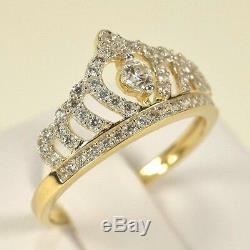 BRAND NEW 14k Yellow Gold CZ Royal Princess Tiara Crown Ring Size 5-9