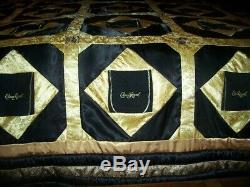 Black Crown Royal quilt 108 x 100 down, Crown Royal bags and Satin, 3 pillows