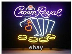 Crown Royal Poker Casino 20x16 Neon Sign Lamp Light Beer Bar With Dimmer