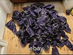 Crown Royal Whiskey Bags Bulk Lot Of 200 Bags Various Sizes Purple & Brown Bags