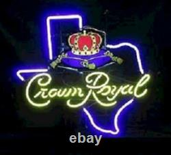 Crown Royal Whiskey Texas 17x14 Neon Sign Light Beer Bar With Dimmer