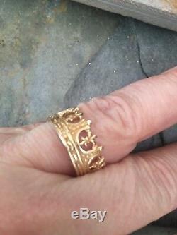 Custom Designed Wide Fleur de Lis Crown Ring Cigar Band Royal Yellow Gold 14 KT