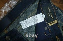 DOLCE GABBANA Distressed Royal Crown Bee Jeans, Size IT 46 / UK 30 Made in Italy