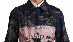 DOLCE & GABBANA Jacket Trenchcoat Silk Blue Royal Crown IT54 US44 /XXL RRP $3900