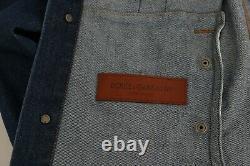DOLCE & GABBANA Jeans Jacket Blue Denim Royal Crown Bee Logo s. EU46 / US36 / S