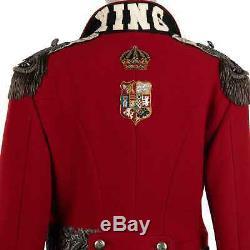 DOLCE & GABBANA Royal Crown Military Epaulet Uniform Wool Coat Jacket Red 07672
