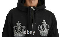 DOLCE & GABBANA Sweater Gray Hooded Royal Crown Cotton IT56 / US46 /XXL RRP $700