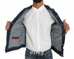 Dolce&Gabbana Men Blue Denim Jacket Royal Crown Bee Logo Outerwear Size IT 46 S