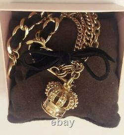 JUICY COUTURE Royal Crown Watch 18K-Gold-tone Chainlink Bracelet Band NWB
