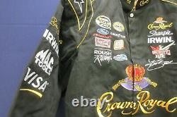 Jeff Hamilton Men's Black Nascar Jacket L Crown Royal Cup Series 97 JH Designs