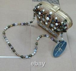 Mary Frances Queendom Embellished Beaded Gold Crown Purse