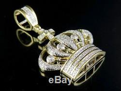 Men's 10K Yellow Gold Genuine Diamond King Crown Royal Pendant Charm 1/2 Ct 1.6