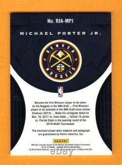Michael Porter Jr. 2018-19 Crown Royale Autograph Patch Auto Rc # / 25 Nuggets