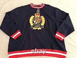 NWT Polo Ralph Lauren Heraldic Crest Royal Crown Sweater Mens 2XB