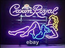 New Crown Royal Girl Whiskey Neon Light Sign 20x16