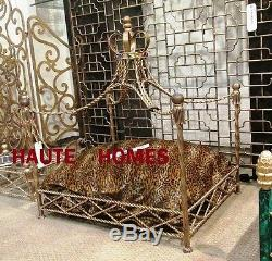 New Designer Royal Iron Twisted Rope Tassel Jewel Crown Canopy Pet Dog Cat Bed