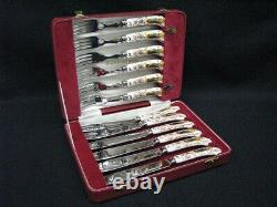 New Olde Avesbury by Royal Crown Derby Fish Service in Case 6 Knives 6 Forks