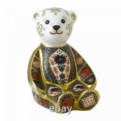New Royal Crown Derby 1st Quality Imari Solid Gold Band Bear Paperweight