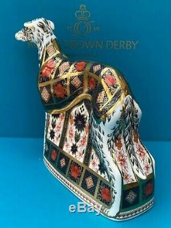 New Royal Crown Derby 1st Quality Imari Solid Gold Band Lurcher Paperweight