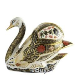 New Royal Crown Derby 1st Quality Imari Solid Gold Band Swan Paperweight