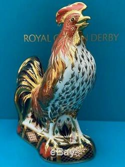 New Royal Crown Derby 1st Quality Old Imari Cockerel Paperweight