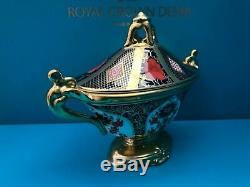 New Royal Crown Derby 1st Quality Old Imari Solid Gold Band Covered Urn